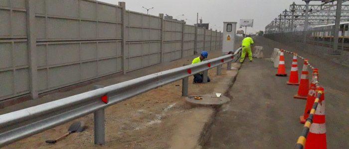 Colocación de captafaros en barrera